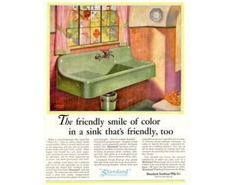 Instant Download Printable Art, Standard, Green Farm Sink, Kitchen Decor Art, Retro Ads, Color Vintage Ad, Wall Art Decor, Digital Download