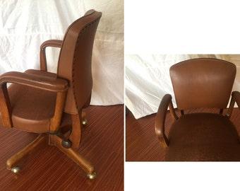 Gunlocke office desk chair modernist mid century modern teak or walnut Danish modern Gunlocke quality