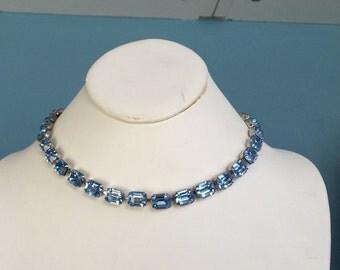 Ice blue rhinestone necklace large emerald cut blue rhinestones formal jewelry bargain 16