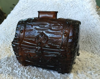Amber glass bank pirate chest still figural vintage treasure chest pattern glass buried treasure brown molded glass