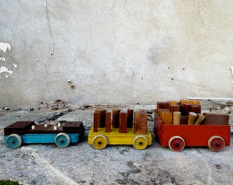 Vintage Wooden Toy Cars & Blocks Puzzles