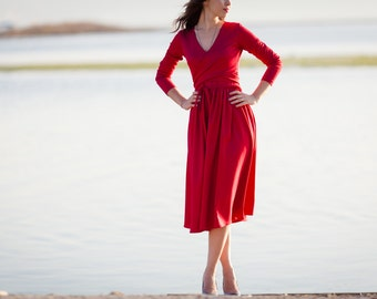 Midi red dress with wrap around top