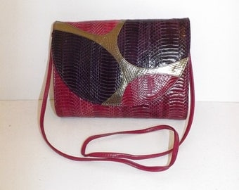 Vintage real snakeskin leather pink purple shoulder bag or large clutch handbag by J Renee