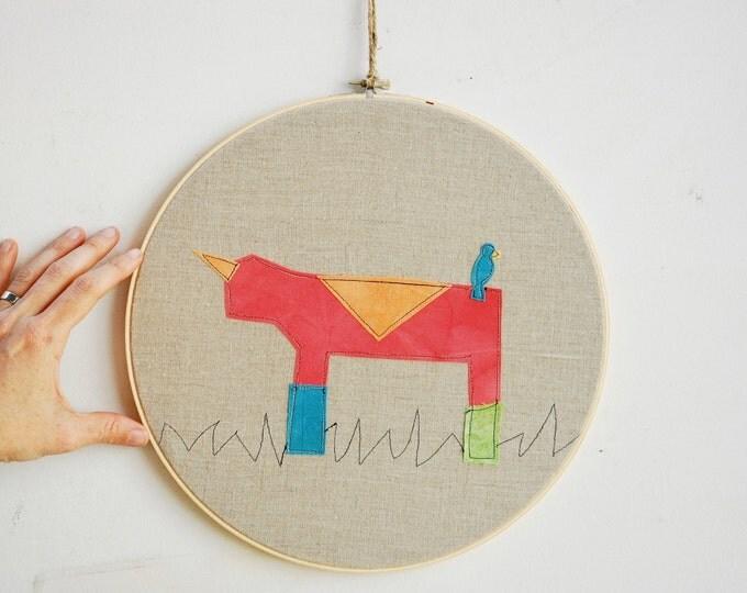 Quilted Fiber Art Hoop, Mini Art Project, Hoop Art, Stitch Art, OOAK Wall Hanging - Daddy Rhino
