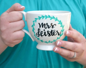 Hand Lettered Personalized Coffee Mug