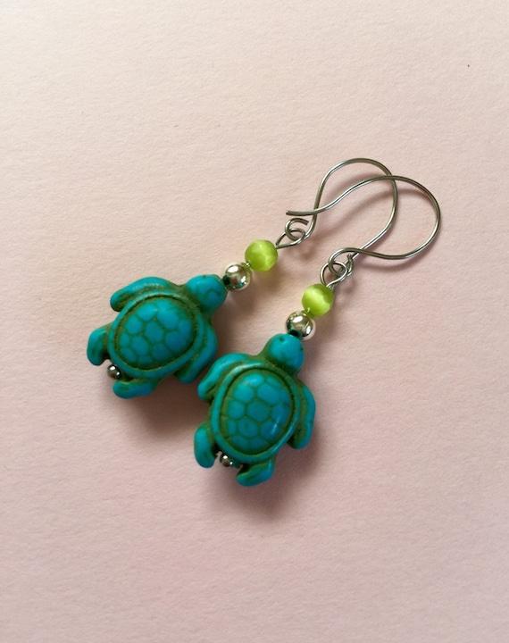 Turquoise turtle earrings/ sea turtle earrings/ silver and