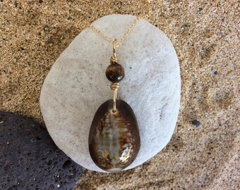 Hawaiian Cowrie Shell, Tigers Eye Gemstone, 14k Gold Fill Fine Cable Chain Necklace