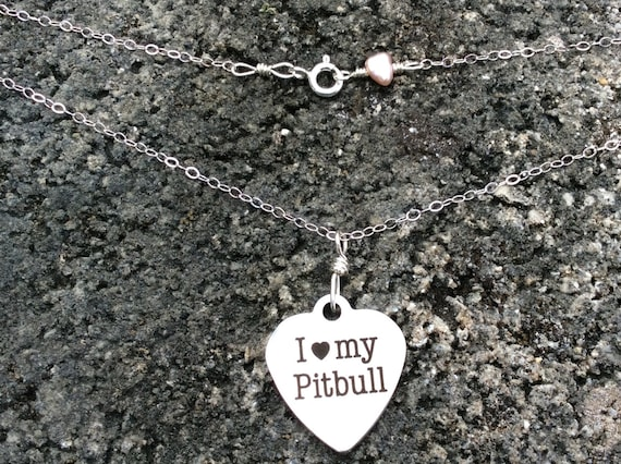I Heart My PitBull Charm, Fresh Water Keshi Pearl, Sterling Silver Chain Necklace