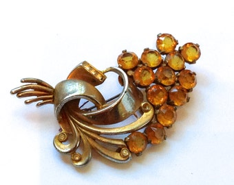Amber Rhinestone 1940's Brooch Beautiful Vintage Fashion Antique Jewelry