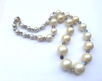 Rhinestone & Faux Pearl Wedding Necklace Pretty Bridal Fashion Jewelry