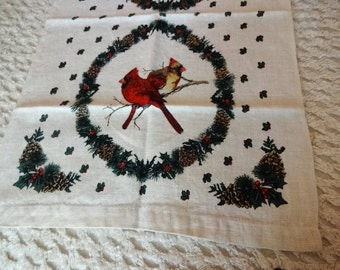Vintage Linen Tea Kitchen Towel Cardinals