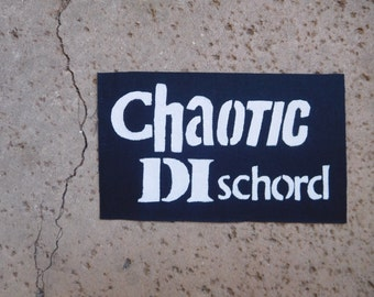 Chaotic dischord sew on patch; punk band patch; punk vest add on