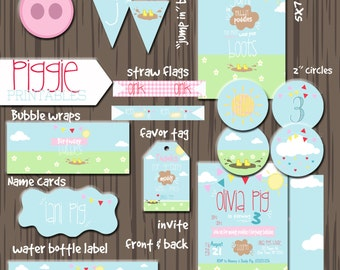 Pig invitation, Piggy invite, Piggy Birthday, Pig Birthday invitation, Peppa Pig inspired Printable, DIY