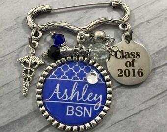 BSN Graduation Pin, Class of 2016, Nursing Grad Gift, RN, MD, LpN Brooch, Pinning Ceremony, Nursing Degree, College Grad Gift, Medical Grad