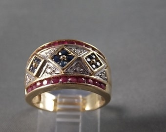 Ruby Diamond and Sapphire Wide Band Ring 1.06Ctw 13mm wide 14K YG 6.8gm Size 7.5  Wedding Engagement