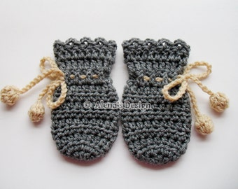 Crochet Pattern 115 - Crochet Mitten Pattern for Baby Thumb-less Grey Mittens - Crochet Patterns - Crochet Glove Pattern - Baby Mittens Hat