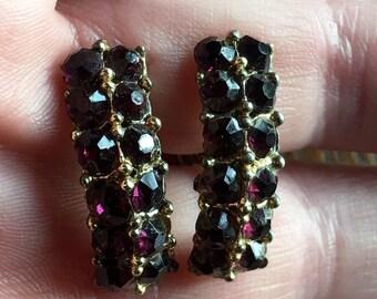 Vintage amethyst screwback earrings 1950s era costume jewelry accessories