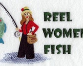 Reel Women Fish, Bath and Hand Towel Set, 100% Cotton.