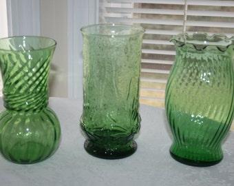 Vintage Green Glass Set of Three 3 Vases Mid Century