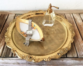 Vintage Japanese Modern Solid Brass Ornate Tray