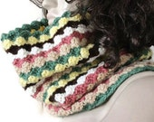 Multicolor Collars Scarf - Crochet  Patterned  Scarf