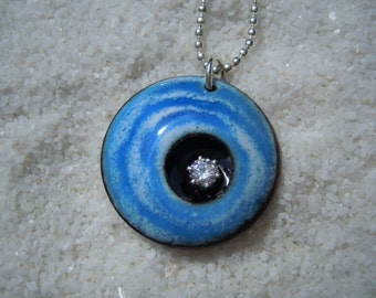 Blue and White Swirl Pendant Artisan Jewelry