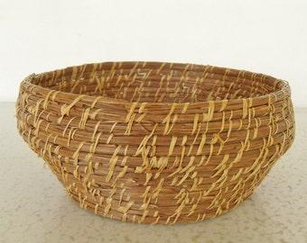 "8"" Pine Needle Basket Woven Handcrafted Vintage"