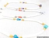 Howlite Gemstone Rope Statement Necklace, Howlite Heart Necklace, Jade Gemstone Bib Necklace, White Rope Necklace, Chunky Jasper Necklace