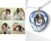 Custom Pet Necklace, Angel Jewelry, Hand Painted Rock, Personalized Charm Pendant, Accessory, Pet Memorial, Cat Portrait, Dog Painting