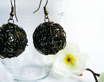 Antique Bronze Ball Earrings - Wire Earrings - Women Jewely - Women Earrings