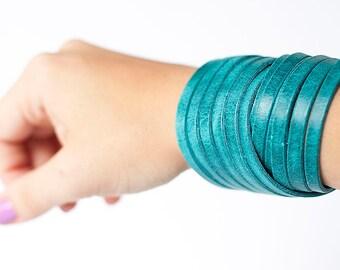 Leather Bracelet / Original Sliced Wrap Cuff / Arctic Ocean