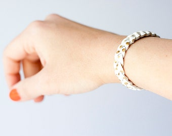 Braided Leather Bracelet / Gold Dots