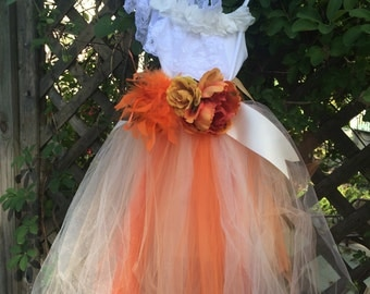 Fall Tutu Gown, Orange Tulle dress, size 4/5 girls, sale, ready to ship