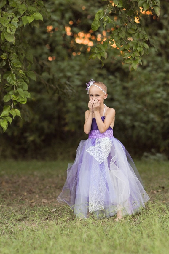 Lavender purple cream flower girl dress junior by for Cream and purple wedding dresses