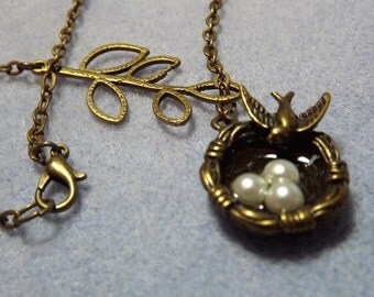 Nesting Dove with Eggs Brass Charm Necklace (Style 33)