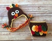 Crochet baby set, size 0-3 mos - Tom Turkey Beanie and Diaper Cover Set - an adorable baby photo prop or outfit, made to order