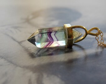 Fluorite Point Crystal Vermeil Pendant Necklace, Double Pointed, Gold Fill Chain, Modern, Minimalist