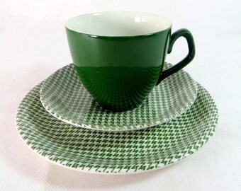 SALE! Retro Mid Century Trio, Barratts Green Dogtooth Check Delphatic White Ironstone Cup, Saucer, Teaplate Trio 1960s