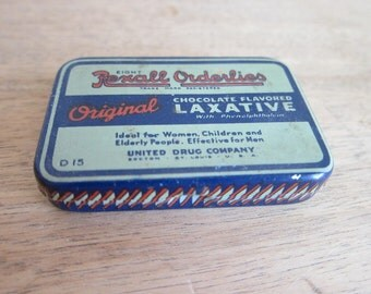 Rare Advertising Unopened Rexall Orderlies Laxative Metal Tin ~ Industrial Home Decor Bathroom Canister, Unique Medical Graduation Gift Idea