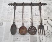 Rustic Cast Iron Utensil Set | vintage utensils wall decor | country cottage decor | vintage rustic wall decor | cottage chic decor