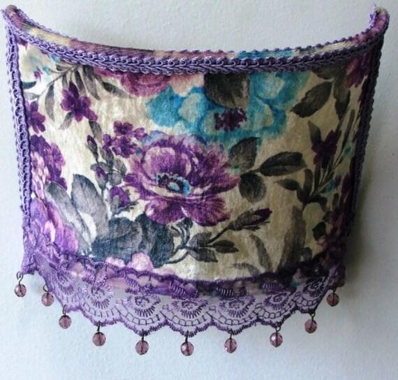 Purple flowers side romantic velvet lampshade victorian for Purple beaded lamp shade