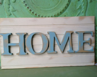 Ivory and Sky Blue Home Sign, Wooden Rustic Home Decor Signs, Gallery Wall Home Sign
