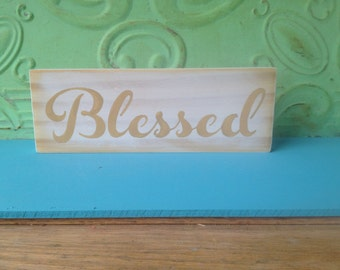 White and Tan Blessed Sign, Wooden Home Decor Blessed Hanger, Gallery Wall Blessed Sign