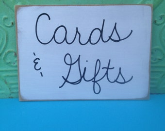 White and Black Cards and Gifts Wedding Sign, Wooden Reception Signs, Cards and Gifts Signage