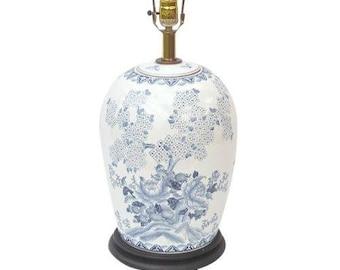Hollywood Regency Ginger Jar Lamp Blue White Asian