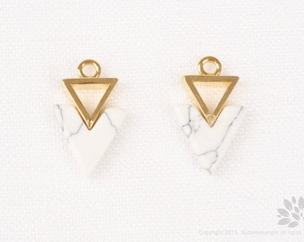 P773-G-WTQ// Gold Plated WHITE Turquoise Double Inverted Triangle Pendant, 2 pcs