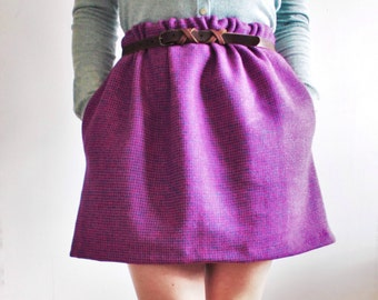 Pink gathered Harris Tweed skirt with floral pockets