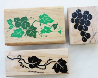 Grape and Grapevines Rubber stamps Stampin Up and Rubber Stampede grapes grapevines Wood mounted Vintage Retired 1995