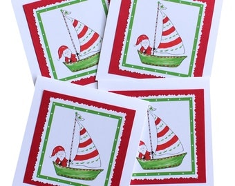 Sailboat Santa Christmas Cards
