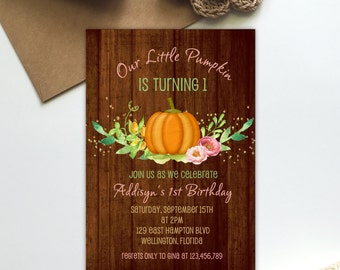 Pumpkin Birthday Invitation, Rustic Pink Our Little Pumpkin Invite, Printable First Birthday Invitation